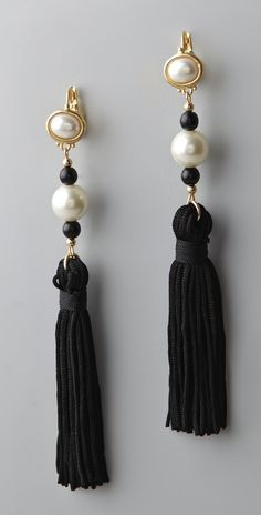 Kenneth Jay Lane Pearl Top Tassel Earrings thestylecure.com
