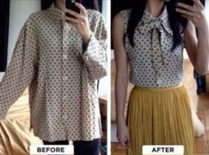 DIY: Turn Your Baggy Button Up Shirt Into A Cute Tank Top Blouse!