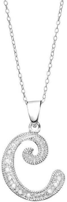1/10 Carat T.W. Diamond Sterling Silver Initial Pendant Necklace