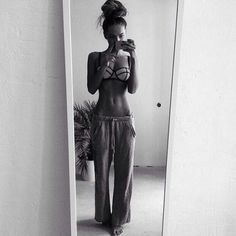Thinspo! + fun bun + sweats + triangl swimsuit= perfect.