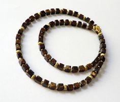 Weiteres - Bronzit-Würfel-Kette Collier braun-gold - ein Designerstück von soschoen bei DaWanda