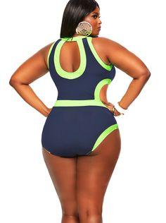 """Cabo"" Monokini Plus Size Swimsuit- Navy/Neon Green - Shop All Swimwear - Swimwear - Monif C"