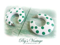 Vintage 1980's White And Green Polka Dot by PegsVintageJewellery, $13.00
