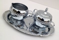 Vintage Cream and Sugar Set with Tray by Irvinware by RenewedFinds, $14.99