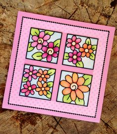 The flowers on this card are from Peel Off sheet nr 0157 and the black lines from sheet 1016. This is the coloring with the Copic markers on top of the Warm Diamond Silk Microfine glitter.