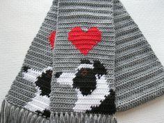 Border Collie Scarf.  Grey crochet scarf with black by hooknsaw, $42.00