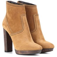 Burberry London England Hazelhurst Suede Ankle Boots ($1,175) ❤ liked on Polyvore featuring shoes, boots, ankle booties, brown, brown suede ankle booties, suede boots, ankle boots, brown ankle booties and suede ankle booties