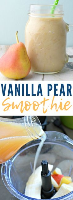Looking for a quick snack or breakfast that you can take on the go? This Vanilla Pear Smoothie recipe will be perfect! Looking for a quick snack or breakfast that you can take on the go? This Vanilla Pear Smoothie recipe will be perfect! Fruit Smoothie Recipes, Pear Smoothie, Strawberry Smoothie, Juice Smoothie, Smoothie Drinks, Drink Recipes, Apricot Smoothie Recipe, Vanilla Smoothie, Vitamix Recipes