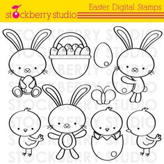 Easter Digital Stamp Personal and Commerical by stockberrystudio, $4.00