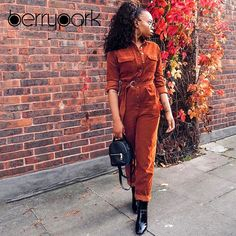 Note: This is Asian size,Asian size is generally sizes smaller than EU and US size. Moda Streetwear, Streetwear Fashion, Long Romper, Long Sleeve Romper, Rompers Women, Jumpsuits For Women, Outfits For Teens, Corduroy, High Fashion