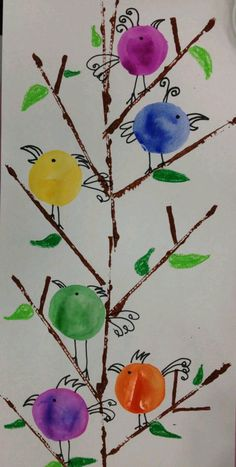 Mother's Day Art or Kinder Birds.Printmake w/cut cardboard for the branches, trace baby bottle lids for the birds & tempera cake them. Add detail with sharpie markers & oil pastels for leaves & grass. Spring Art Projects, School Art Projects, Spring Crafts, Kindergarten Art Lessons, Art Lessons Elementary, Art For Kids, Crafts For Kids, First Grade Art, Fingerprint Art