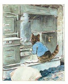 'The Tale of Samuel Whiskers', 1908 -- by Beatrix Potter. Tom Kitten prepares to go up the chimney. A fearful tale! Roly Poly Pudding, Beatrix Potter Illustrations, Beatrice Potter, Peter Rabbit And Friends, Children's Book Illustration, Book Illustrations, Cat Art, Illustrators, Drawings