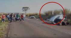 Estranha imagem com duas pessoas de mãos dadas após acidente!Seriam Fantasmas?