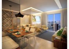 Perspectiva do living ampliado de 73m²