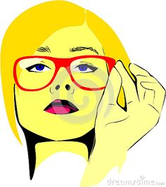 Colored Vector drawing of a fictional woman with blond hair wearing glasses my head held high.