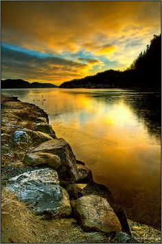 ~~Sunrise in Norway ~ beautiful water reflection, Røed, Risør, Norway by Staale N~~