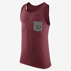 REPRESENT YOUR TEAM The Nike Tri-Blend (MLB Diamondbacks) Men's Tank Top elevates a classic warm-weather style with your favorite team's logo on soft, comfortable fabric. Product Details Durable rib scoop neck and armholes Chest pocket with team graphic Fabric: 50% polyester/25% cotton/25% rayon Machine wash Imported