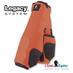 Classic Equine Legacy Boots - Hind - Medium - Orange by Classic. $57.10. Made of 100% virgin perforated neoprene that allows the leg to breathe and heat to escape so your horse's legs stay cooler. A round cut box stitched hook-and-loop attachment with an aggressive closure makes the Legacy more secure. A shock absorbing splint pad gives maximum protection to the splint bone, tendons, and other soft tissues. The refined splint pad guards against crossfire injuries and allow...