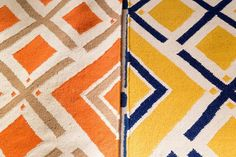Shine bright like a diamond- great geometric print on flat weave wool rugs will be a bold statement in your home.