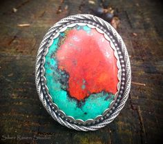 Handcrafted Ring by Marie Murphy featuring a huge beautiful piece of Sonora Sunrise. www.SilverRavenStudio.Etsy.com