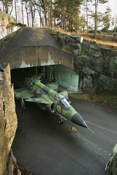 Saab Viggen out of its underground disperison hangar