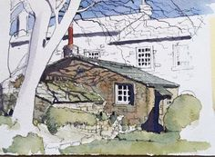 A cottage in Grasington, in the Yorkshire Dales: this is my demo piece at a line and wash workshop this week.