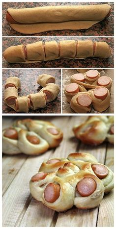 Cute finger food idea with hot dogs and pilsbury dough