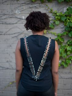 V Shirt Embellished with Safety Pins by TwistingWire on Etsy, $30.00