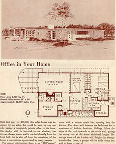 1700 sf Office in Your Home: 1950 Your New Home The Sims, Sims 4, Vintage House Plans, Modern House Plans, House Floor Plans, Mcm House, House Blueprints, Googie, Modern Exterior