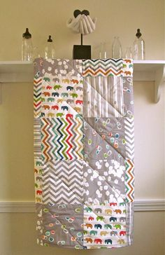 Organic Modern Baby Quilt -  Multicolored Elephants - Flannel or Minky Back - Gray, Red, Yellow, Teal, Turquoise, Orange, and Lime on Ivory on Etsy, $115.00