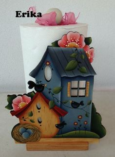 Country Painting Decoration - wooden paper towel holder