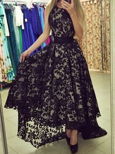 Black, Lace, Sleeveless, High Low, Maxi Dress
