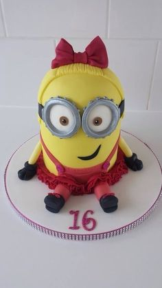 Girly minion Cake by kalous, not really into the girly part but love my minioins!