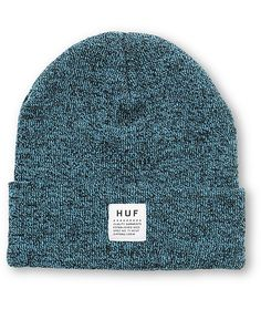 A soft mixed yarn construction provides a unique look with plenty of warmth and a HUF logo patch on the fold-over cuff.