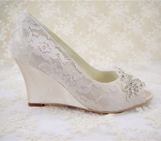 Handmade Champagne Lace Diamante Bridal Shoes Peep TOE Wedge Wedding Shoes UK3 8 | eBay