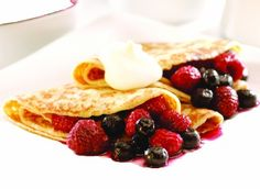 Mixed Berries Crepes made with Marcel's Double Love Sweet Crepes Breakfast Recipes, Dinner Recipes, Dessert Recipes, Desserts, Crepe Recipes, Mixed Berries, Crepes, Recipe Ideas, Dessert