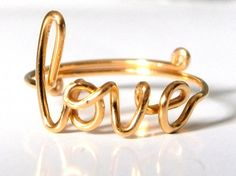 Items similar to Ring - Gold Love Ring - Gold Wire Love Ring - Adjustable Band - Conversation Ring - Dainty Ring - Handmade Ring on Etsy Cute Jewelry, Jewelry Box, Jewelry Accessories, Jewelry Design, Unique Jewelry, Jewelry 2014, Jewelry Trends, Jewlery, Zierlicher Ring