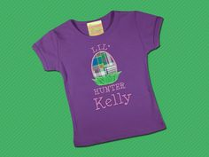 Easter Egg Hunter Girls Shirt with Embroidered Name by SunbeamRoad, $24.00