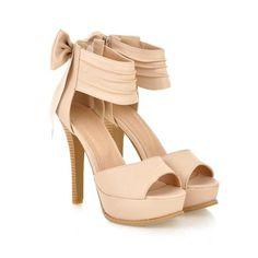 High Heel Ankle Strap Beige Sandals