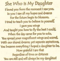 always my daughter . . . .