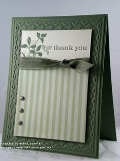 handmade card ... monochromatic green ... like the clean lines ... using Stampin' Up! materials makes everything a perfect match ... brads, ribbon, ink, cardstock, patterned paper ...