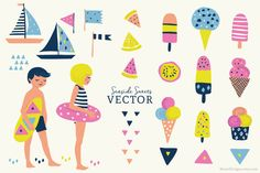 Check out Beachside Vector Set - Illustration by RhianAwni on Creative Market