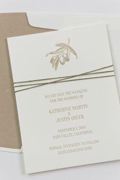 Yonder Design | Save the Date, Olive Branch, Letterpress, Napa Wedding, California Wedding, Clean Design, Modern Wedding, Custom Invitations, Wedding Inspiration, Tan and White, Neutral Wedding, Pressed Oak