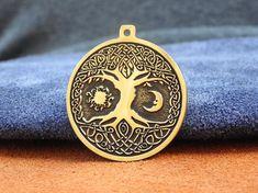 Viking Symbols, Viking Runes, Tree Necklace, Moon Necklace, Viking Tattoos, Tree Of Life, Vikings, Celtic, Handmade Items