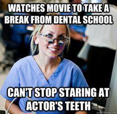 Overworked dental student