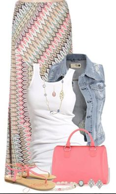 Pastel denim jacket outfit idea: with white tank, Boho pastel print skirt, pink flip flops and pink purse