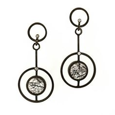 Daphne Krinos at Patina Gallery. Earrings, Oxidized Sterling Silver, Black Tourmaline in Clear Quartz Circles, Diamonds