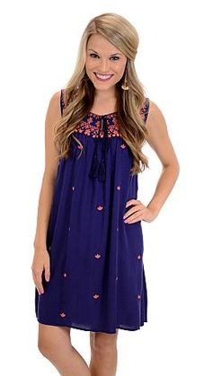 ShopBlueDoor.com: Simple and sweet with embroidery and pom pom trim! $39