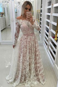 d12e34371a43 A-Line Off-the-Shoulder Sweep Train Long Sleeves Blush Lace Prom Dress with  Belt