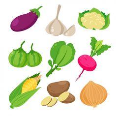 着色された野菜コレクション 無料ベクター